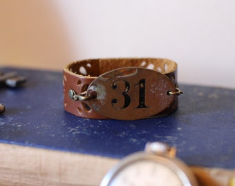 Leather Bracelet, and Brass Room Number