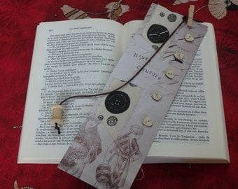 """Bookmark vintage """"Haute couture"""" paper and printed fabric"""