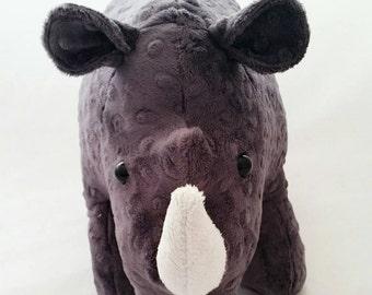 Randy rhino, curvy unicorn, rhinoceros plush, grey rhino, funky rhino,  African mammals,