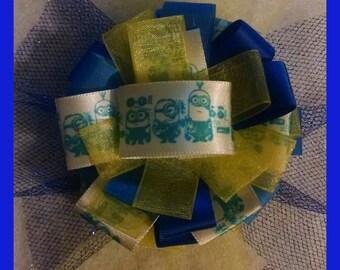 Minions medium ribbon and tulle hair bow