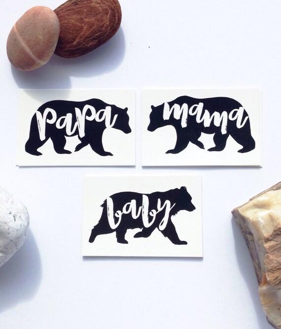 Papa Bear Mama Bear Baby Bear Tattoos Family Tattoos Set