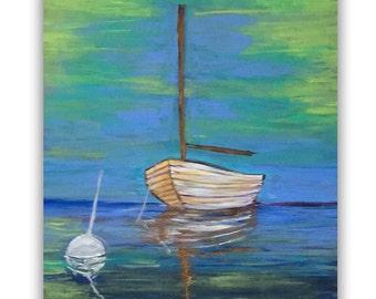 Sailboat on Mooring (Acrylic on 18x24 wood panel)