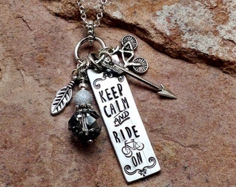 Silver Bar Necklace, Stamped Necklace,  Keep Calm and Ride On, Cyclist Jewelry, Biking Gift, Bicycle Necklace, gift for Her