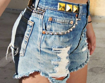 Vintage Levis denim shorts 501s red tab Jean high waisted waist cut offs daisy dukes studded embellished distressed shredded rip button fly