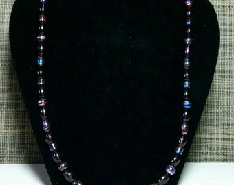 Burgundy & Blue Bead Necklace