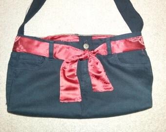 Black denim shoulder purse