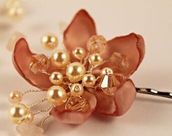 Bridal Hair Pin, Flower Girl Hair Pin, Flower Hair clip, Bridal Hair Clip, Vintage Hair Clip, Pink Quarts Hair Pin, Bridesmaid Hair Pin