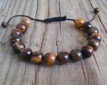 Genuine tiger eye stone bead bracelet – gold brown tiger eye crystal bracelet for mens – power mala feng shui attract money healing bracelet