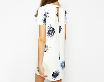 White ShiftDress Work Wedding Party (Ted Baker Tory Burch Snide Style)