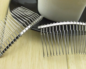 5 Pieces Silver tone Hair comb 74*31MM