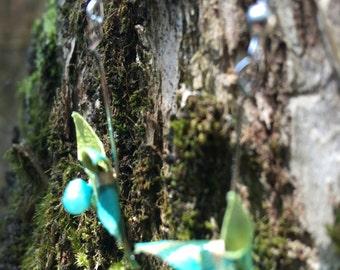Green origami windmill earrings