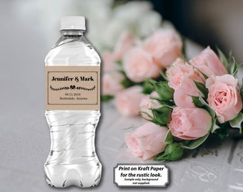 Wedding Water Bottle Label, Personalized Water Bottle Label, Kraft Paper, Editable PDF, DIY Printable Template, Instant Download E75G