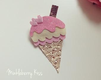 Glitter and felt ice cream cone hair clip, clasp.