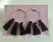CUSTOM ORDER for REBECCA / Mini Tassels on Hoops / Earrings / Gold-plated Hoop / Black