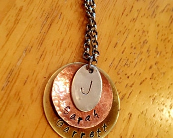 Child Name with Last Intial Stamped Stack Necklace