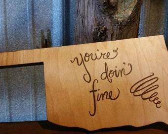 Wooden Oklahoma sign
