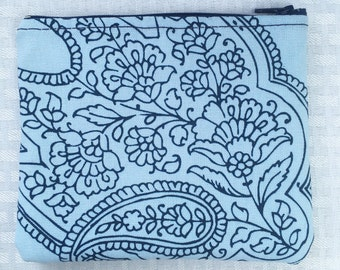 Blue and Navy Paisley Ditty Bag (Ready to Ship) Coin Purse, Pouch, Toiletry Bag