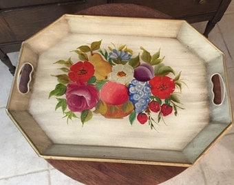 """1930's-40's Antique Tole Tray """"Hand Decorated by Pilgrim Art"""""""
