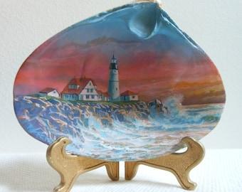 Painted Seashell - Portland Head Lighthouse