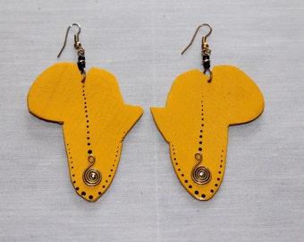Yellow Africa Map Dangle Wood Earrings