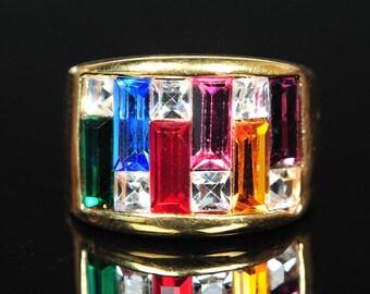 Gold-toned, gemstone ring (size 6)