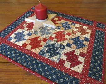 Miniature Quilt - Red, White and Blue Jacob's Ladder