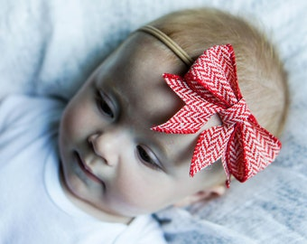 Red Patterned Ribbon Bow - Burlap
