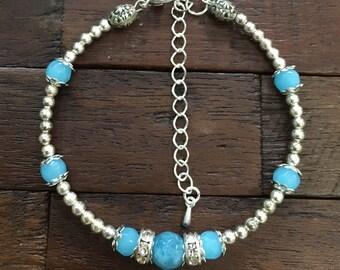 Blue Agate and Beaded Bracelet