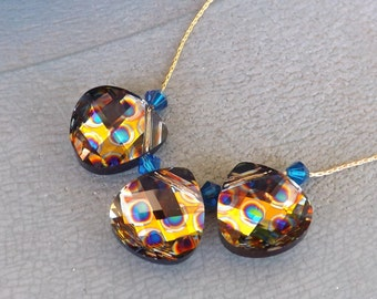 "14 KT gold GF necklace Swarovski drops ""Peacock Eye"""