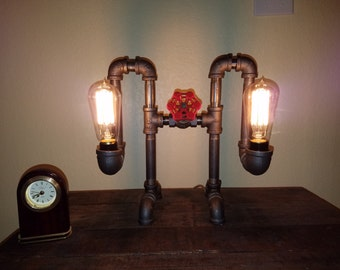 Double Bulb Iron Pipe Industrial Desk Lamp with Faucet Switch