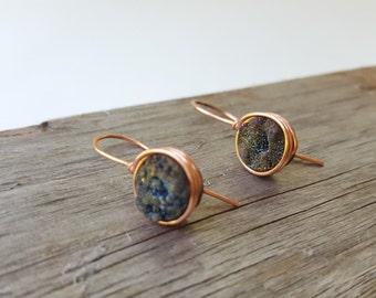 Solid Copper Rainbow Dangle Druzy Earrings, Titanium Quartz Agate Gemstone Wire Wrapped, Handmade