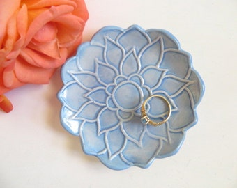 Trinket dish, ring holder, jewelry tray, Blue Lotus Flower, In Stock