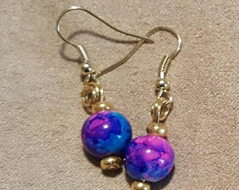 Blue and Purlple cotton candy beaded earrings