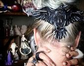 Nevermore SET Custom Leather Hair Slide w/ Hand Forged Pin Dark Fashion - Goth - Raven - OOAK - Edgar Allan Poe