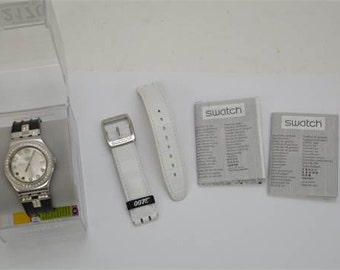 A limited edition Swatch Bond watch with 007 white in makers box