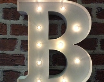 led carnival circus light up alphabet letter b all metal large 33 cm wall or free standing