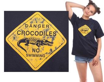 Crocodiles T Shirt 80s Vintage Tee Danger Croc Print No Swimming TShirt Hip Hop Rap Black Yellow Summer Urban Hipster Medium