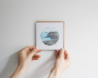 Rugged Coastline - blank watercolour greeting card - recycled, 125mm square - with kraft envelope