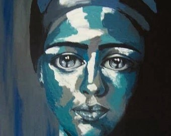 The tears became hope'ARTDECO,acrylic,PORTRAIT,original painting,original art,modern design,unique art,acrylic painting,Birthday gift