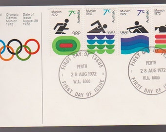 1972 Australia Official Olympic Games Munich FDC First Day Cover