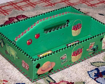 Bright green hand painted, one-of-a-kind wooden carry caddy for the garden or the kitchen