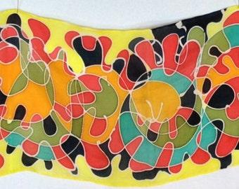 "8""x54"" Hand Painted Habotai Silk Scarf (RBSAW8""x54""-5)"