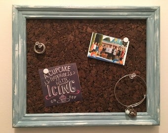 Antique Blue Painted Cork Board Frame