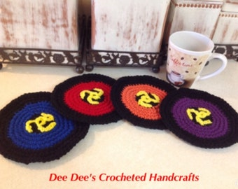 Hand Crocheted 45 RPM Record Coasters or Wall Hanging, (4)