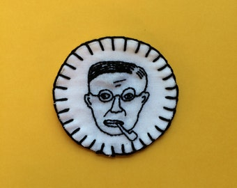 Jean-Paul Sartre hand embroidered patch