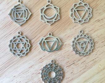 Set of 7 Chakra Charms/ Silver Chakra Pendants/ Chakra Symbols COL103