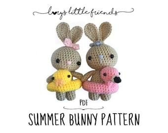 Summer Bunny Crochet Pattern Amigurumi PDF