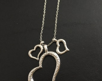 Silver Trio Heart Necklace