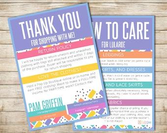 Custom Colored Squares LuLaRoe Thank You, Care Card - PRINTABLE