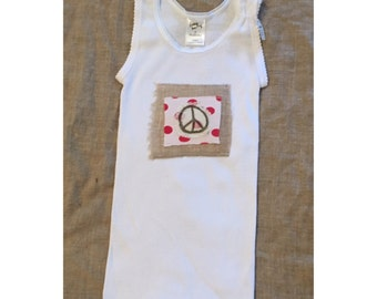 kid singlet,toddler tanktops,toddler tops,girls tops,handmade,summerwear,hippie kids,peace sign,hippie clothing,boho clothing,girls clothing